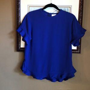 Kate Spade royal blue ruffle blouse size 4